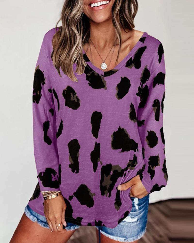 Cheetah Print Colorblock Long Sleeve Casual Top фото