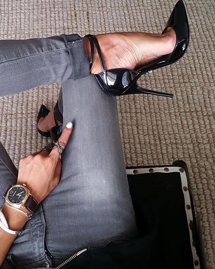 joyshoetique / Pointed Toe Ankle Strap Pumps