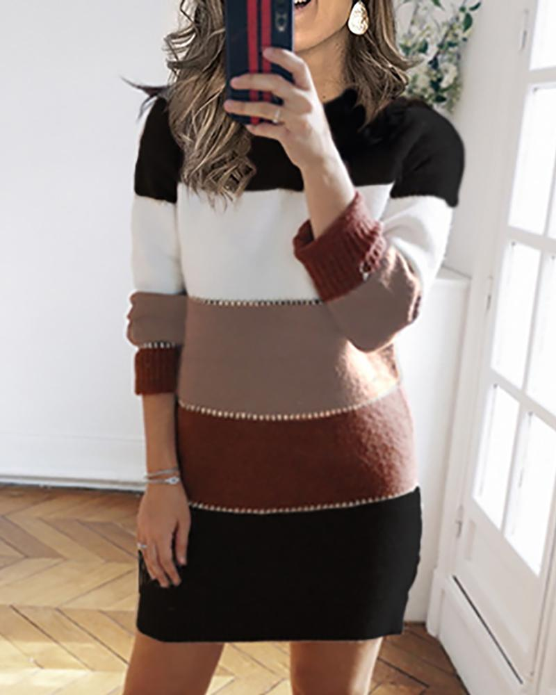Colorblock Fluffy Long Sleeve Casual Dress фото