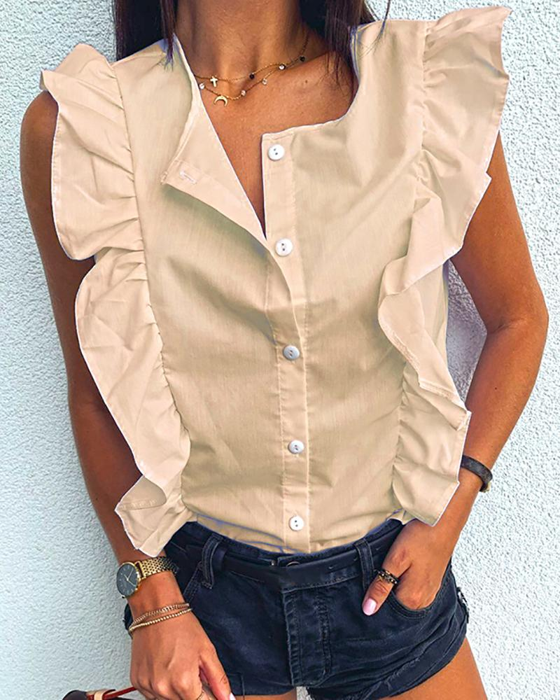 Ruffles Button Design Solid Top фото