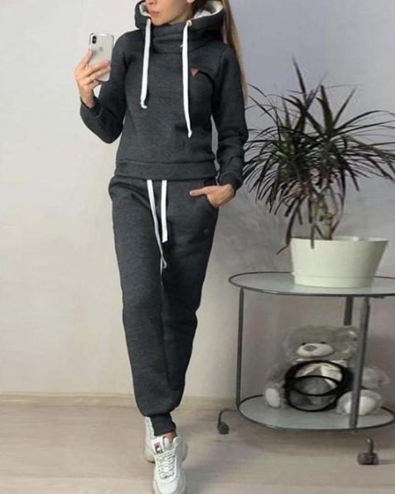 Solid Hooded Faux Fleece Tracksuit фото