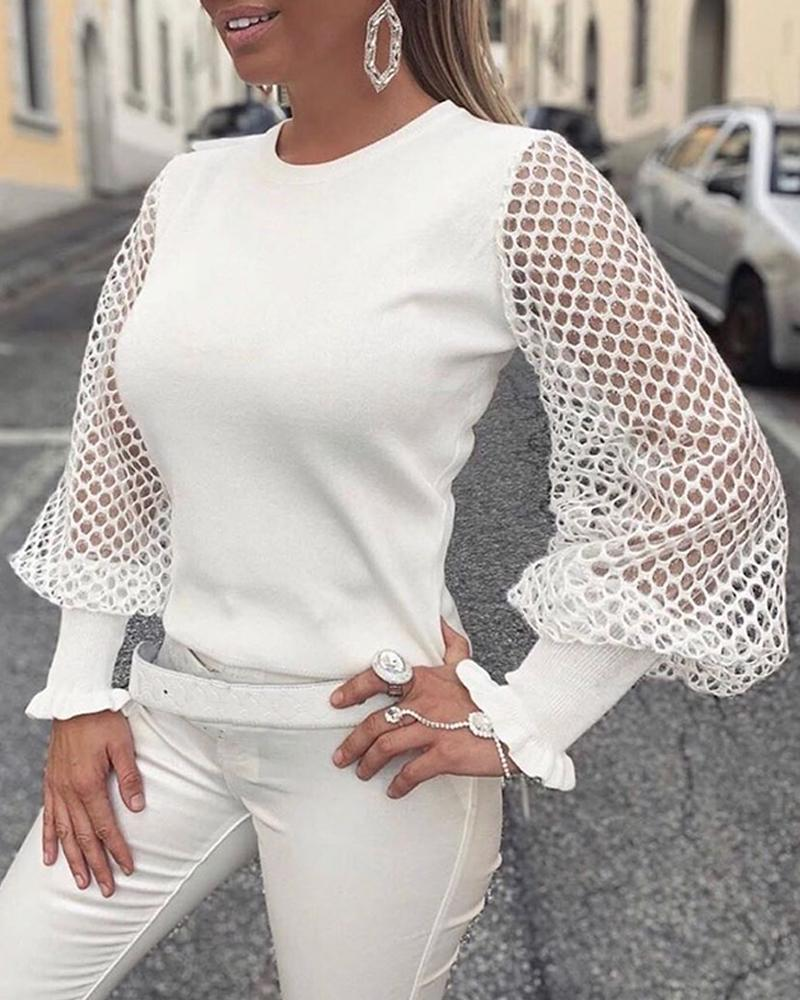 Solid Fishnet Long Sleeve Top фото