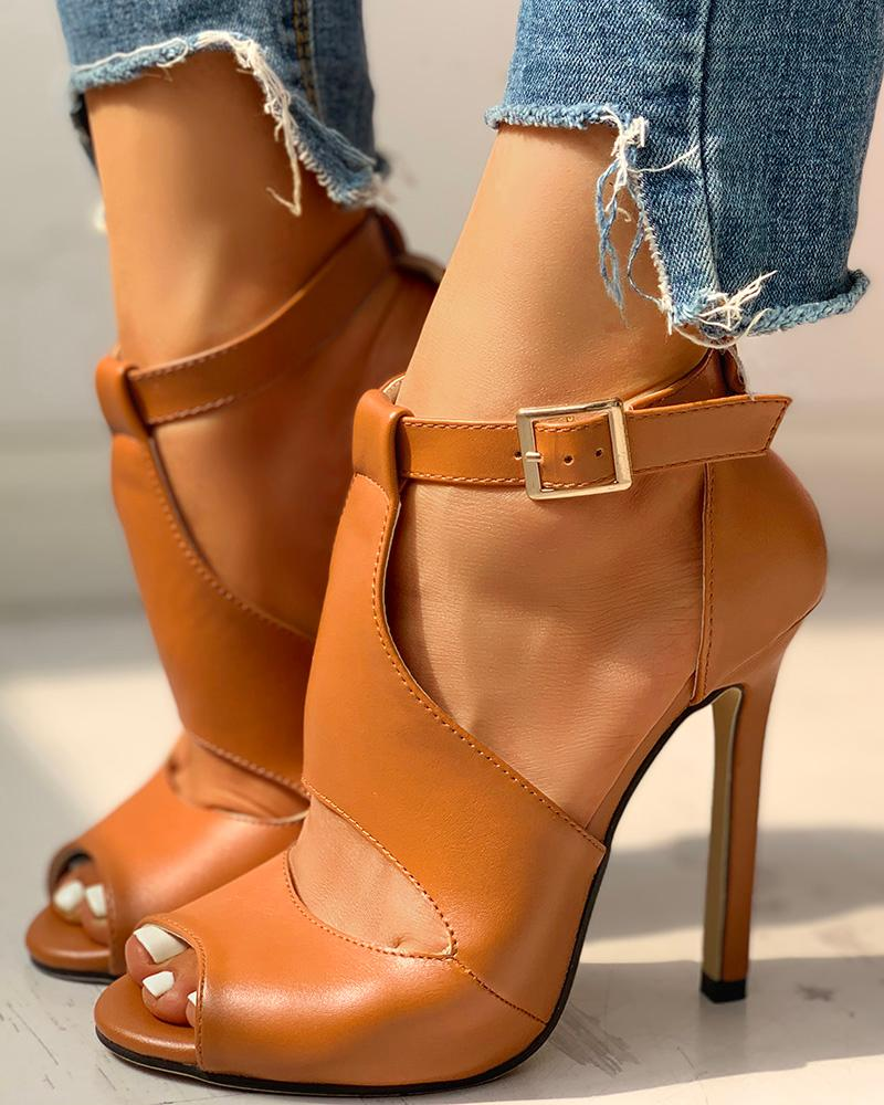 Solid Peep Toe Ankle-buckled PU Thin Heeled Sandals фото
