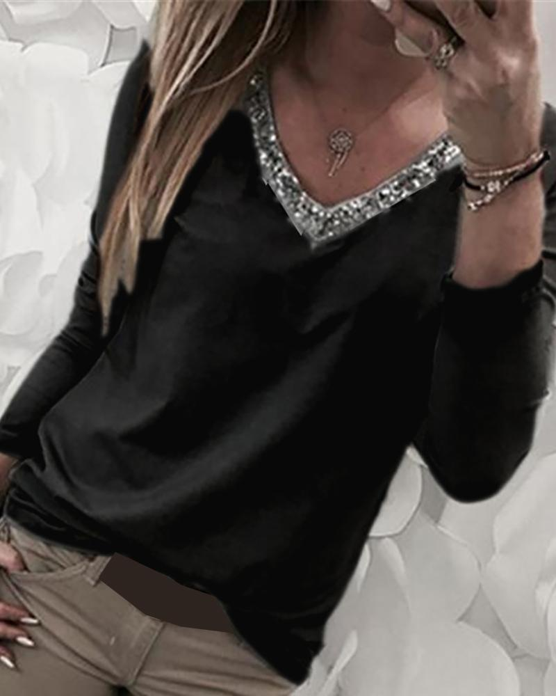 V-Neck Sequins Long Sleeve Blouse фото