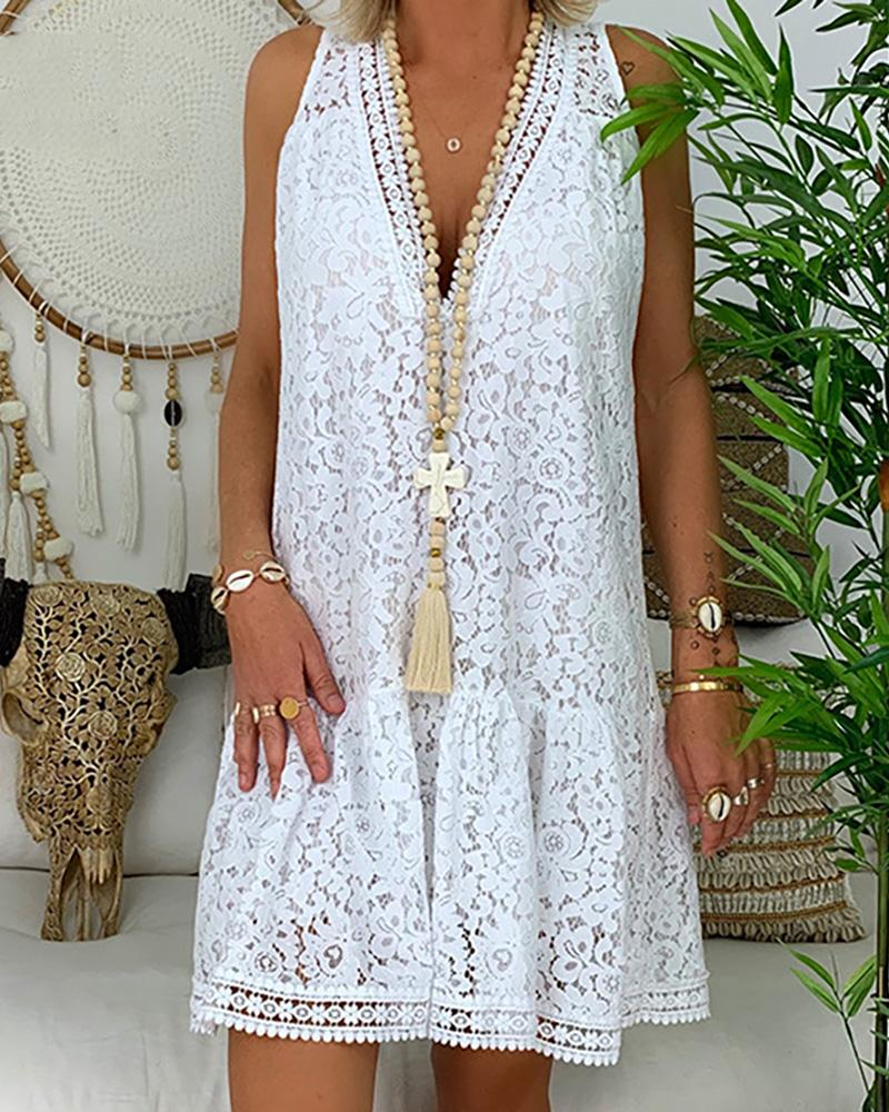 V Neck Sleeveless Loose Lace Short Dress