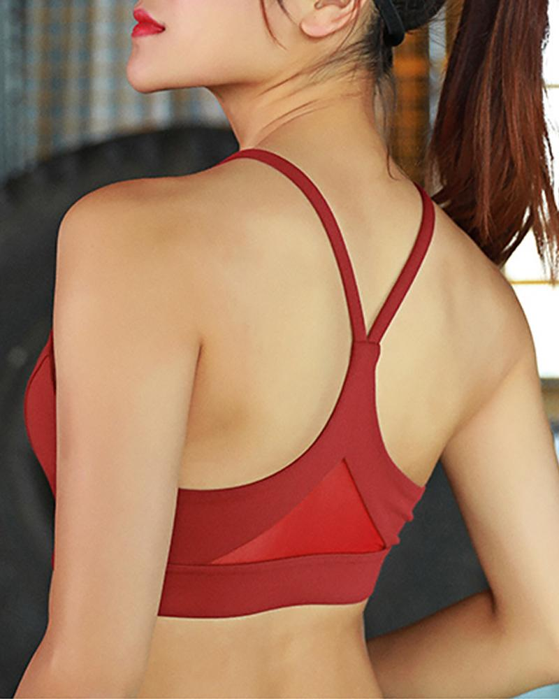 Solid Thick Strap Round Neck Sporty Top фото