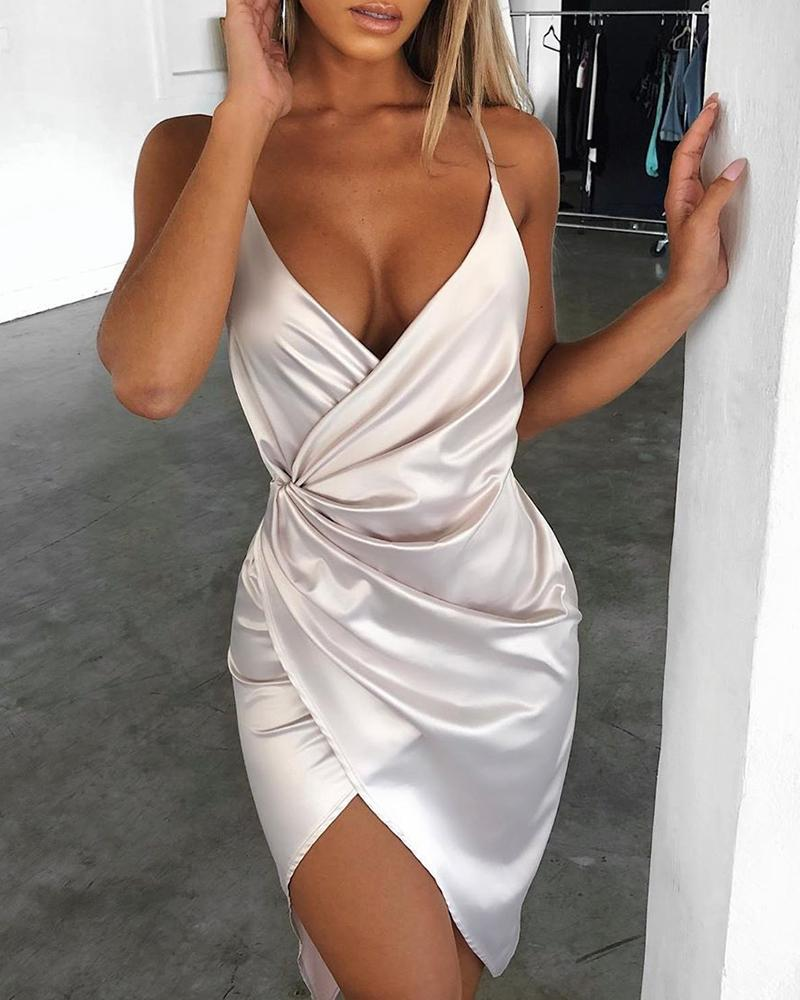 ivrose / Cetim espaguete cinta vestido de festa irregular Ruched