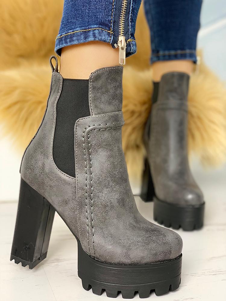 Platform Non-Slip Chunky Heeled Boots фото