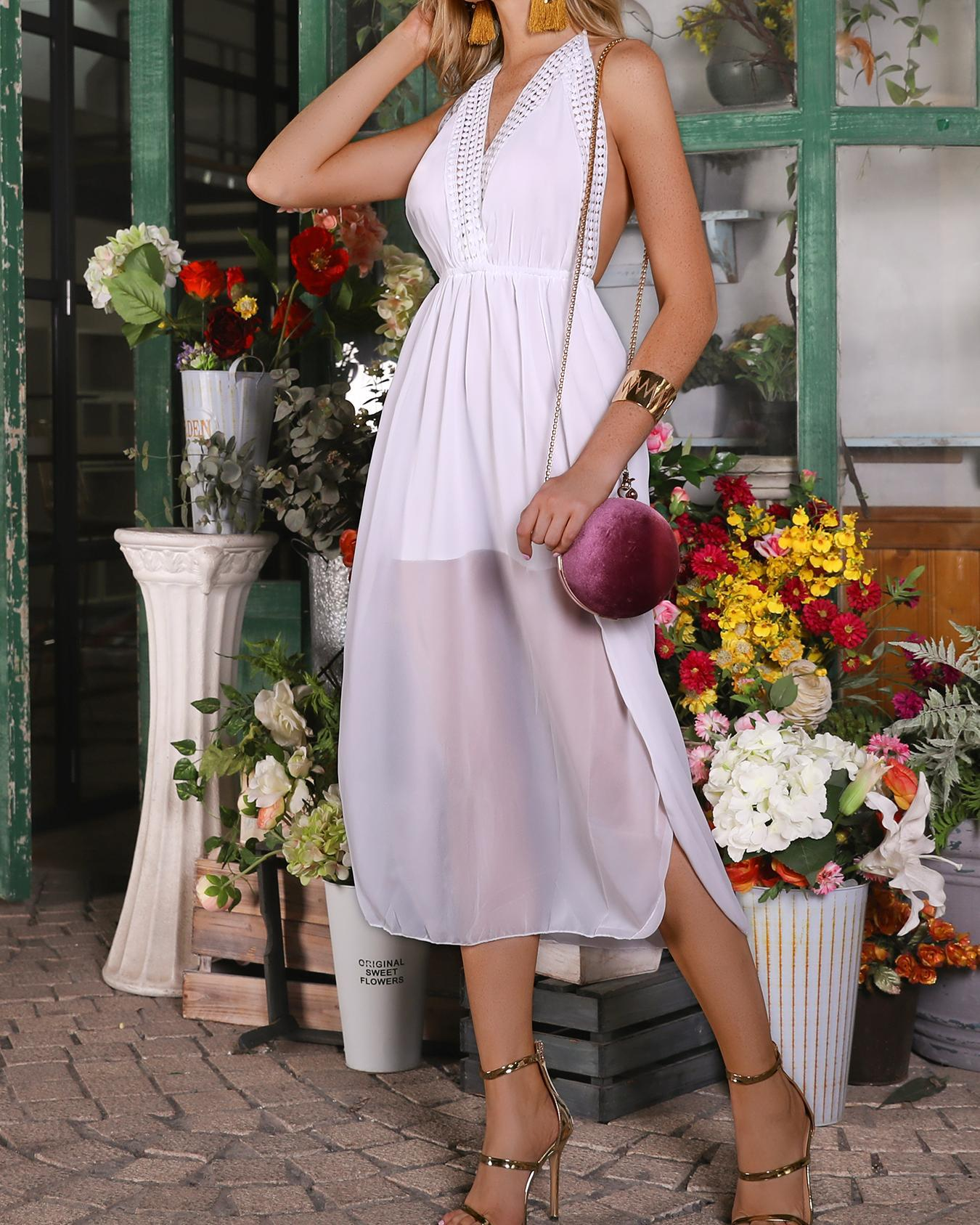Hollow Out Halter Side Slit Backless Casual Dress