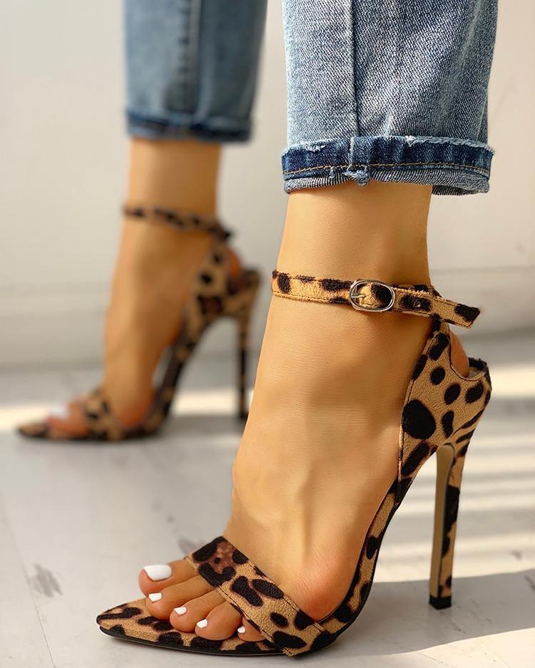 Peep Toe Ankle Strap Thin Heeled Sandal