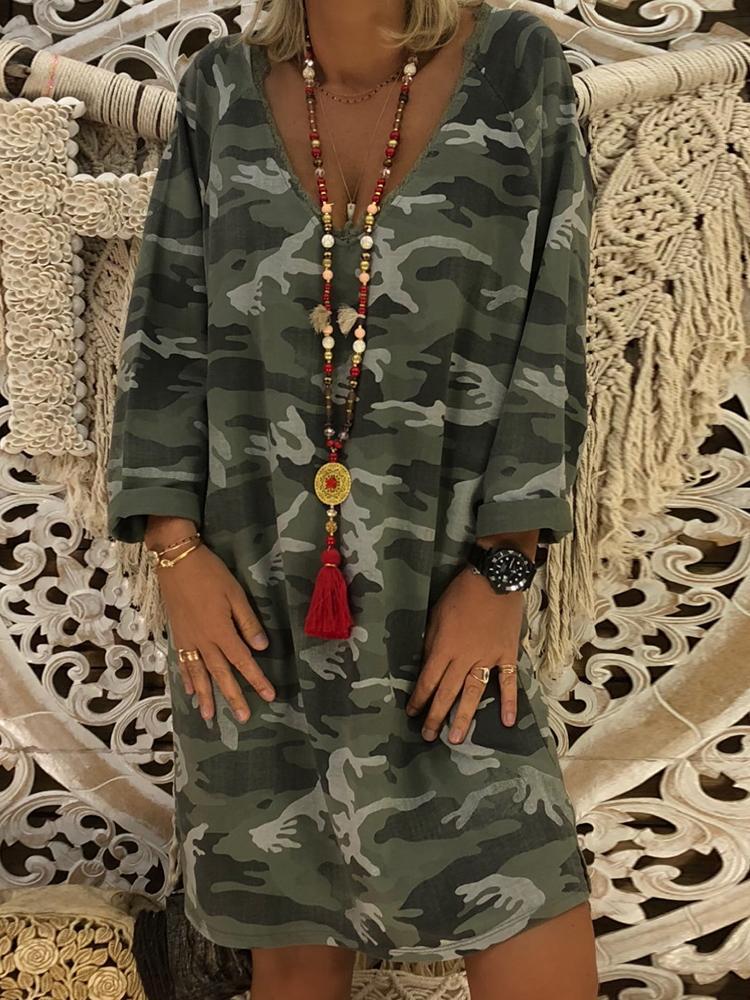 boutiquefeel / Camuflagem impressão v pescoço vestido casual