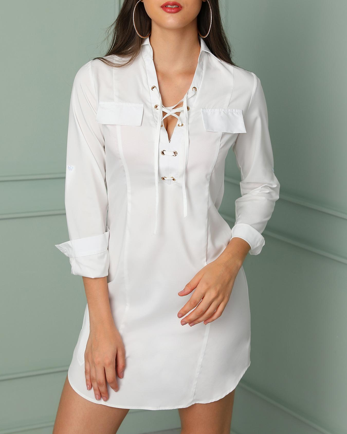 Sexy Lace-up Grommet Patchwork Casual T-shirt Dress, White