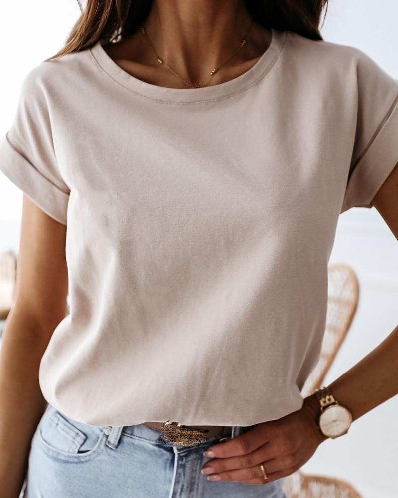 Solid Round Neck Casual T-shirt фото