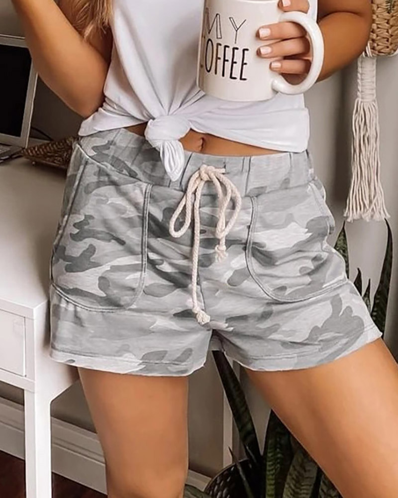 ivrose / Shorts de camuflagem com cordão