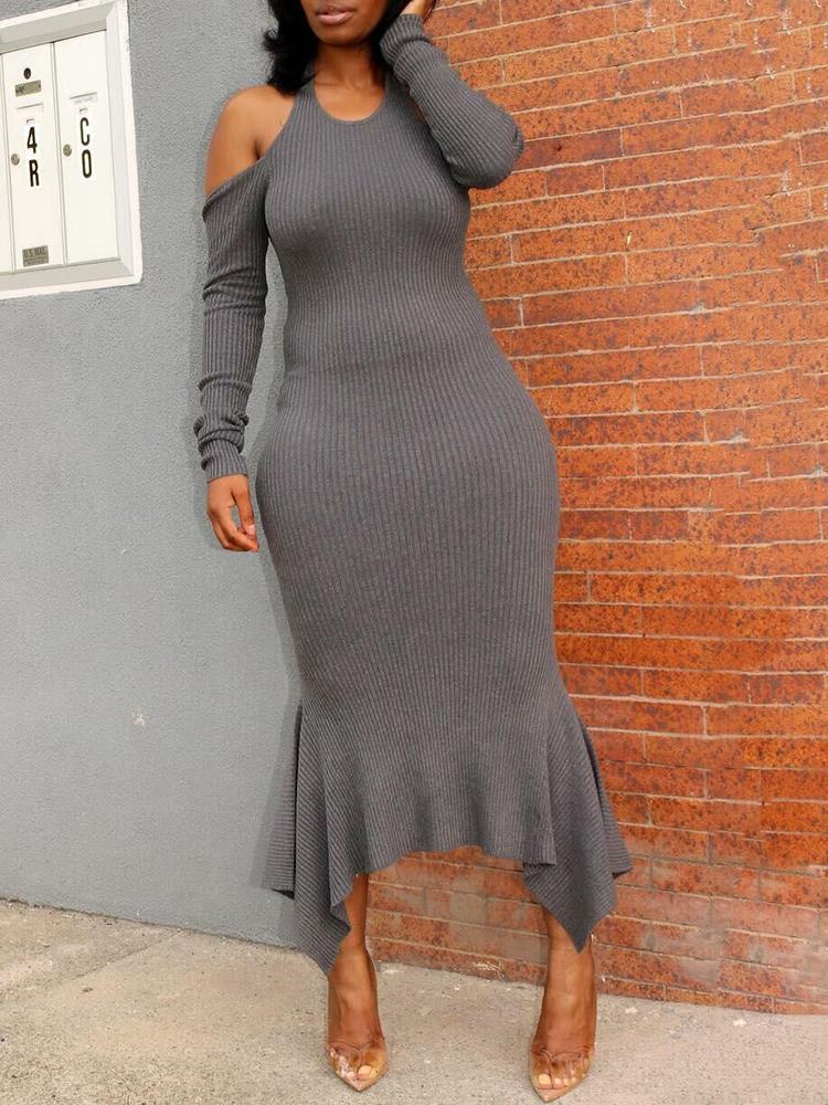 Cold Shoulder Ruffle Hem Ribbed Maxi Sweater Dress