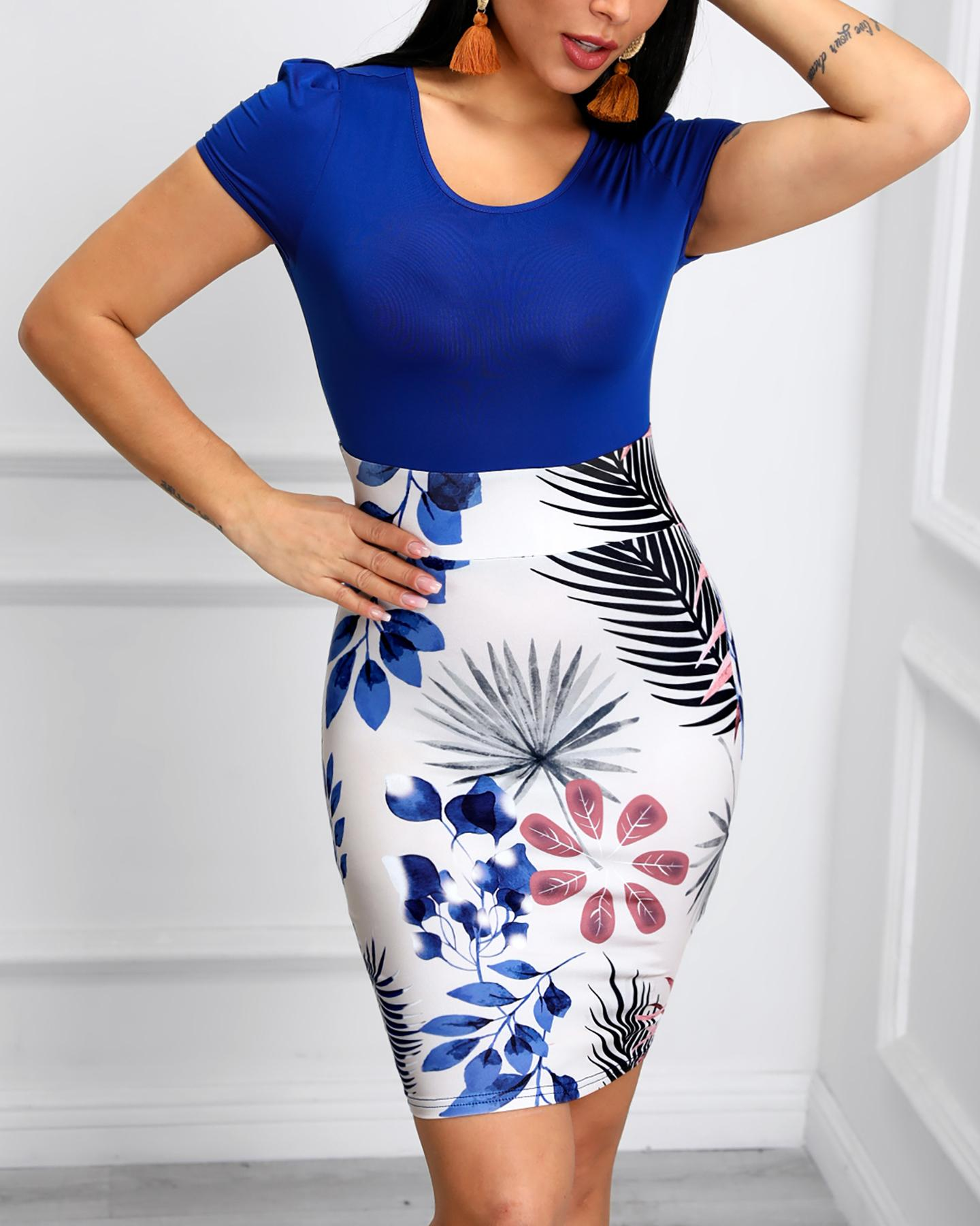 Short Sleeve Tropical Print Bodycon Dress фото