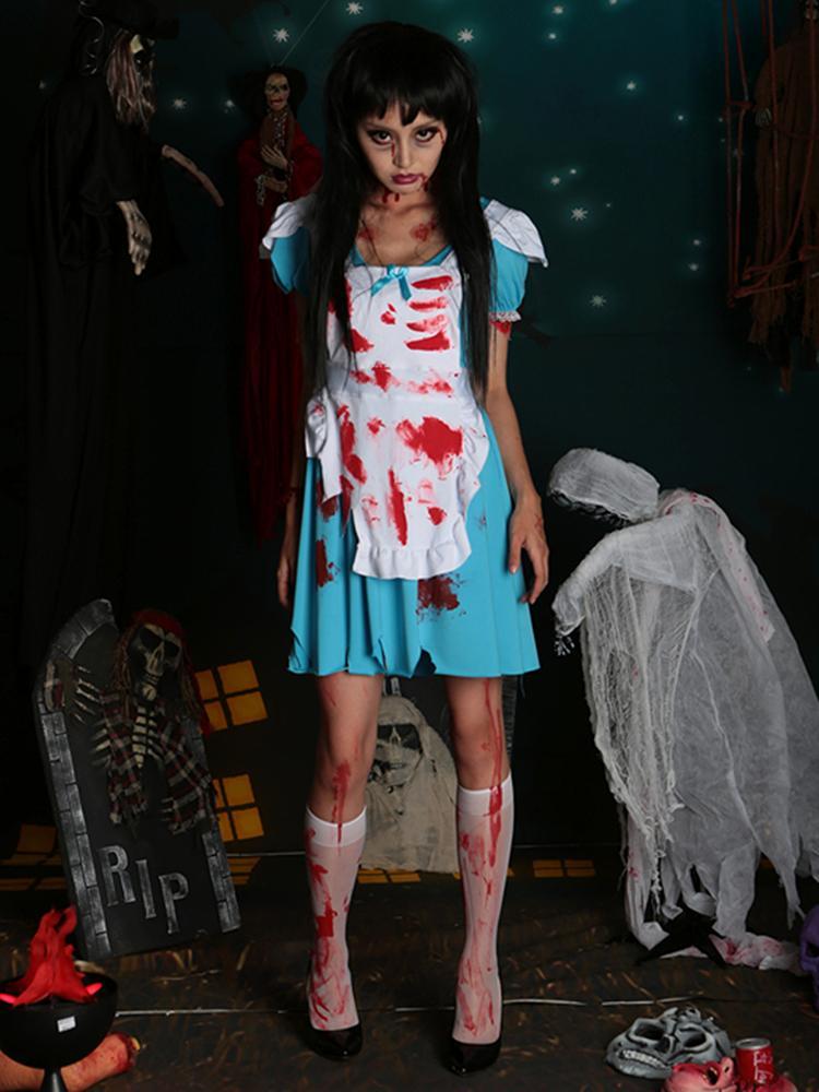 Zombie Alice in Wonderland Women Adult Halloween Costume Set