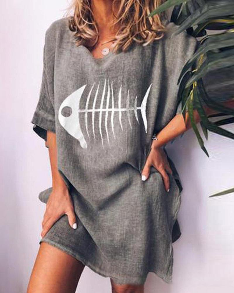 Fishbone printed round neck loose casual T-shirt фото