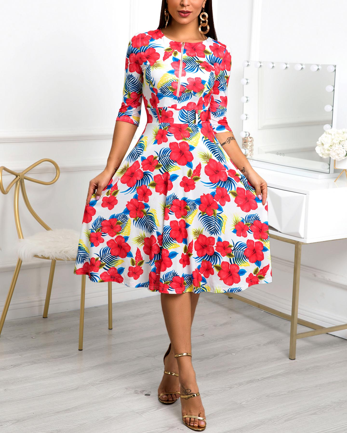 Floral Print Zipper Design Pleated Dress