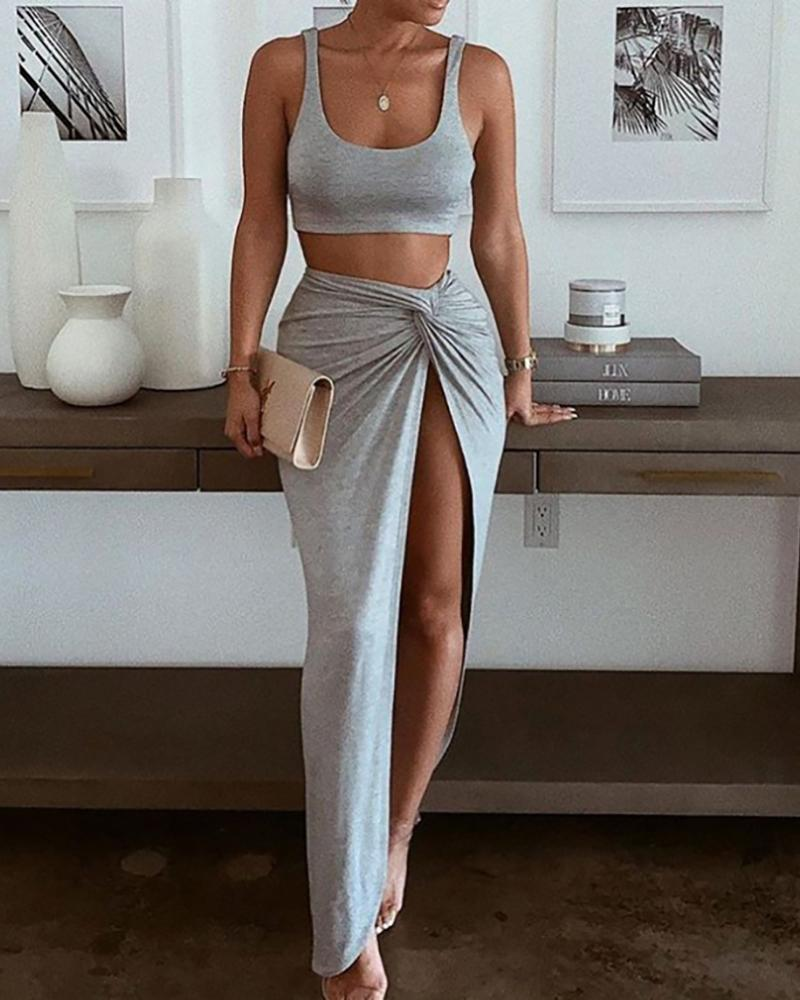 Plain Sleeveless Crop Top & High Slit Twisted Skirt Set