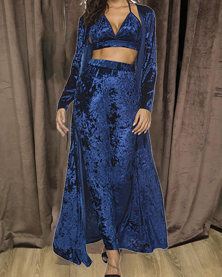 3PCS Velvet Halter Bra Top & Pants With Cardigan