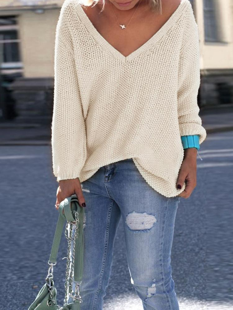 V Neck Knitted Casual Pullover Sweater фото