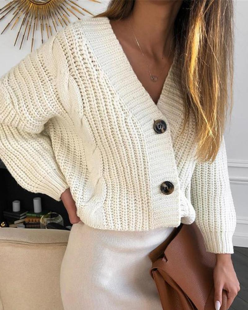 ivrose / Solid Button Design Lantern Sleeve Knit Sweater