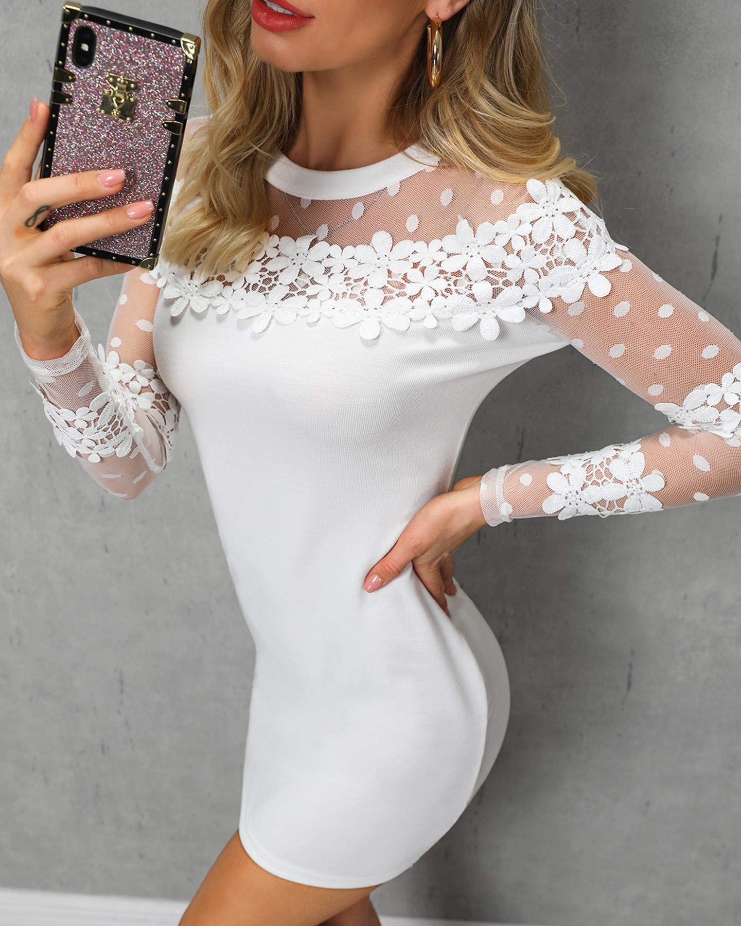 Floral Lace & Dots Mesh Yoke Bodycon Dress
