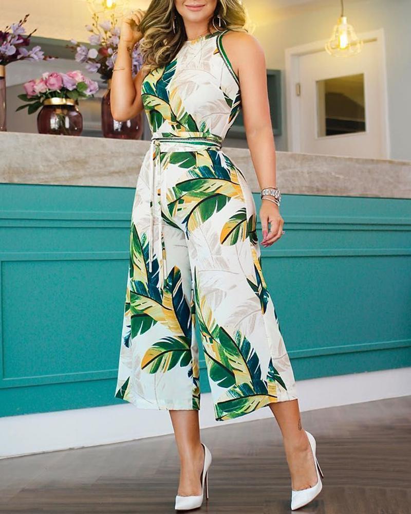 Tropical Print Wide Leg Jumpsuit фото
