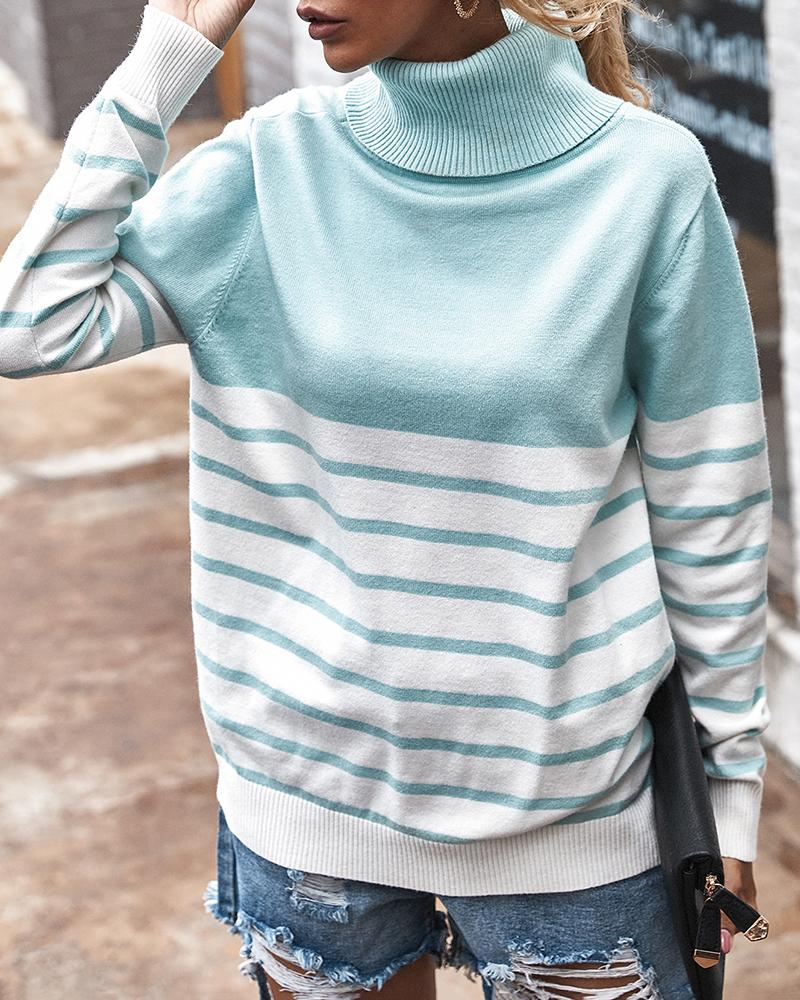 Striped Colorblock High Neck Sweater фото