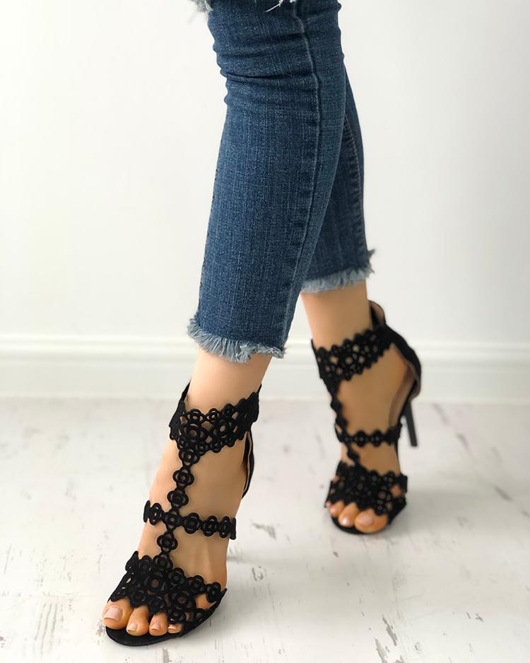 Velvet Hollow Out Open Toe Heels Sandals