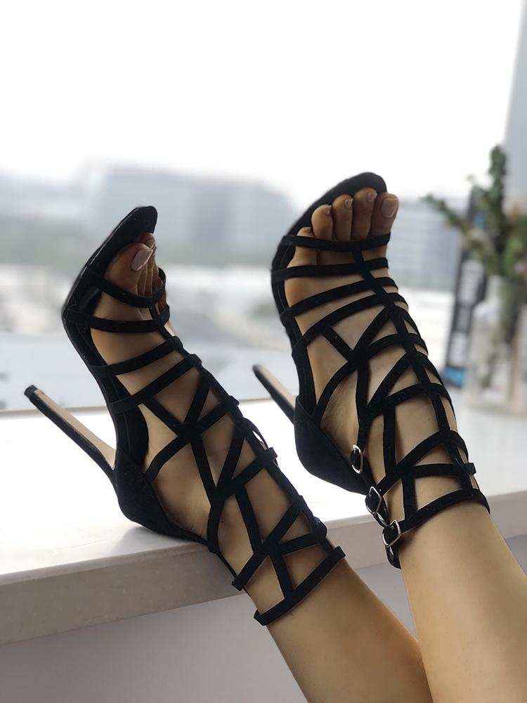 Open Toe Caged Buckle Thin High-heeled Sandals