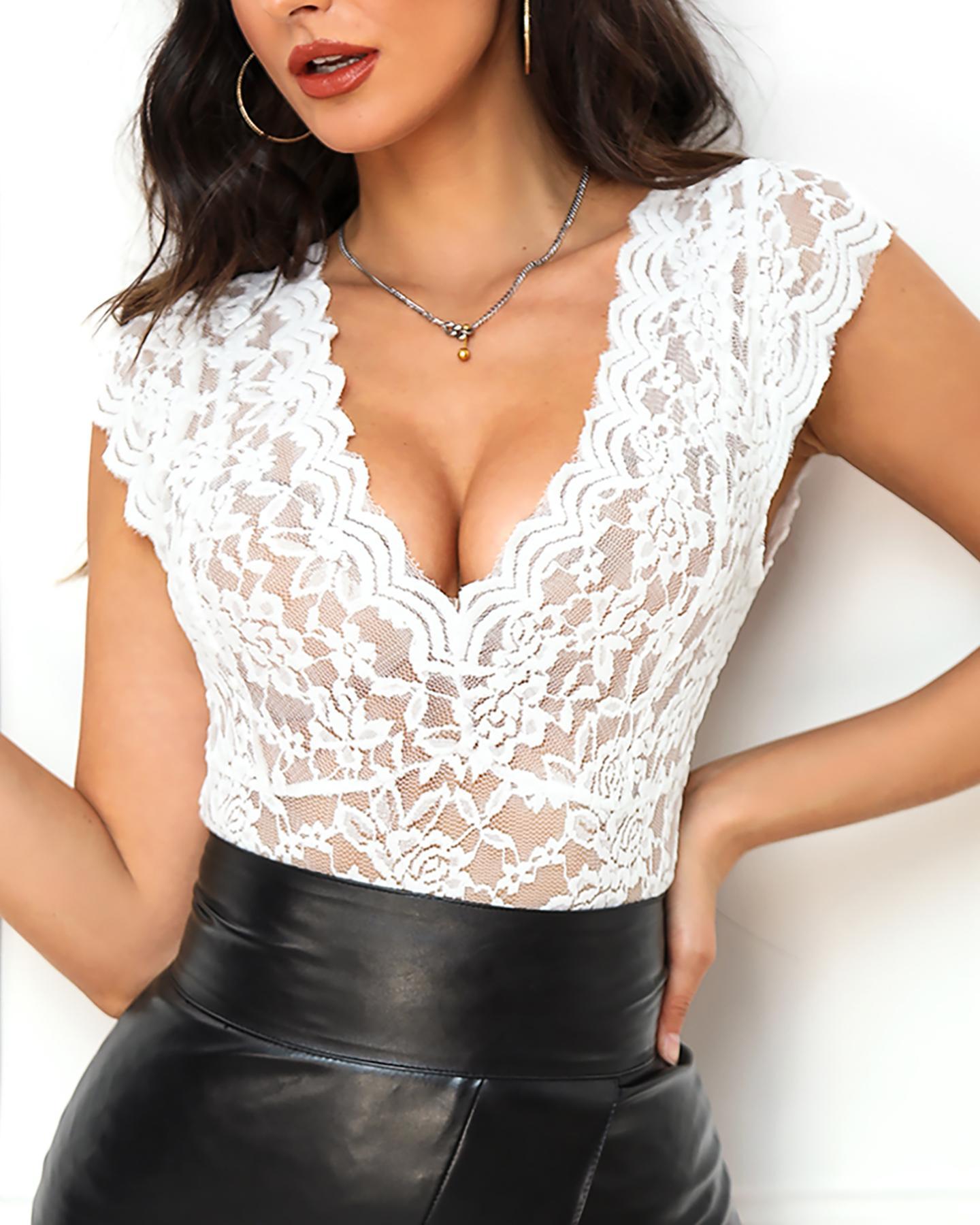 Sheer Mesh Lace Sleeveless Bodysuit фото