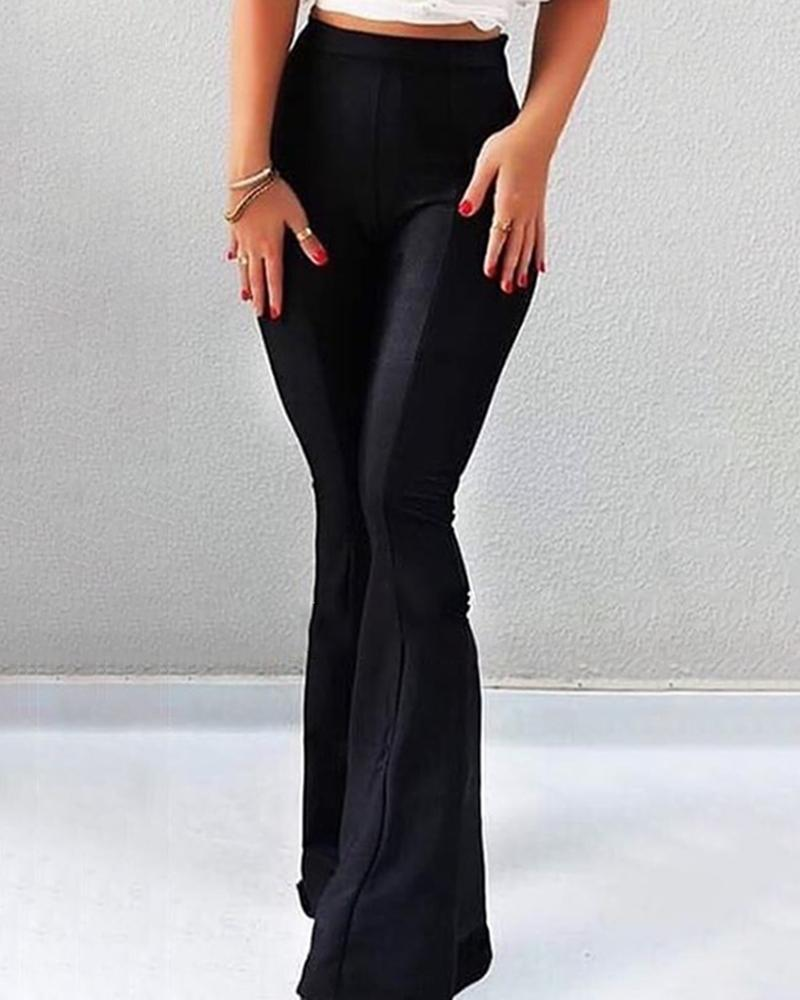 Solid High Waist Bell-Bottom Casual Pants, joyshoetique, black  - buy with discount