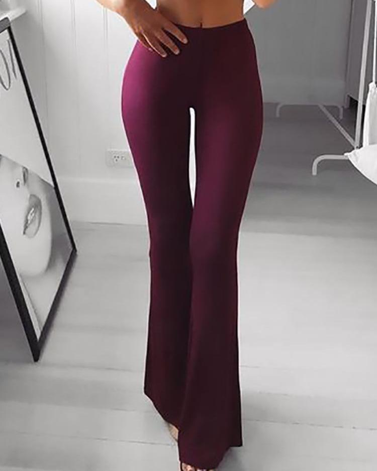 Solid High Waist Bell-Bottom Skinny Pants фото