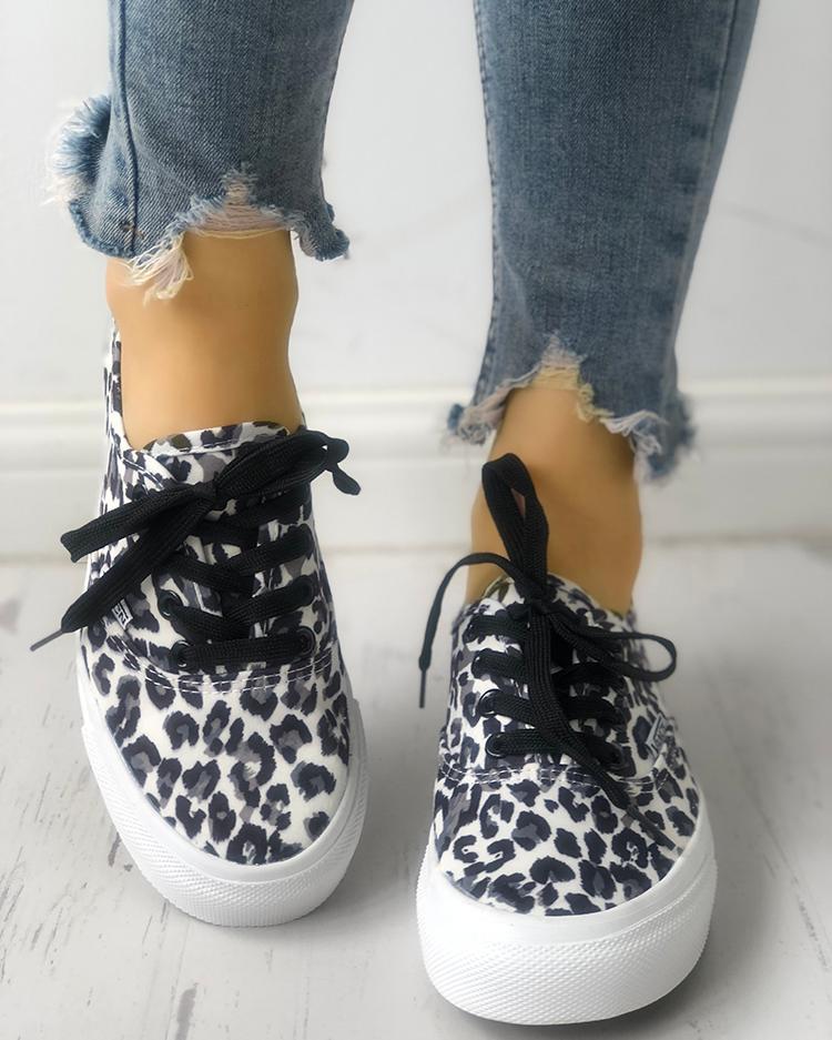 boutiquefeel / Zapatillas de deporte con cordones de leopardo de moda
