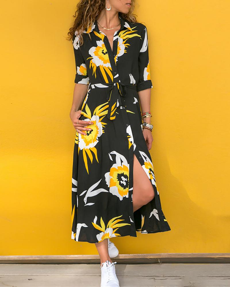 Floral Print Button Casual Dress фото