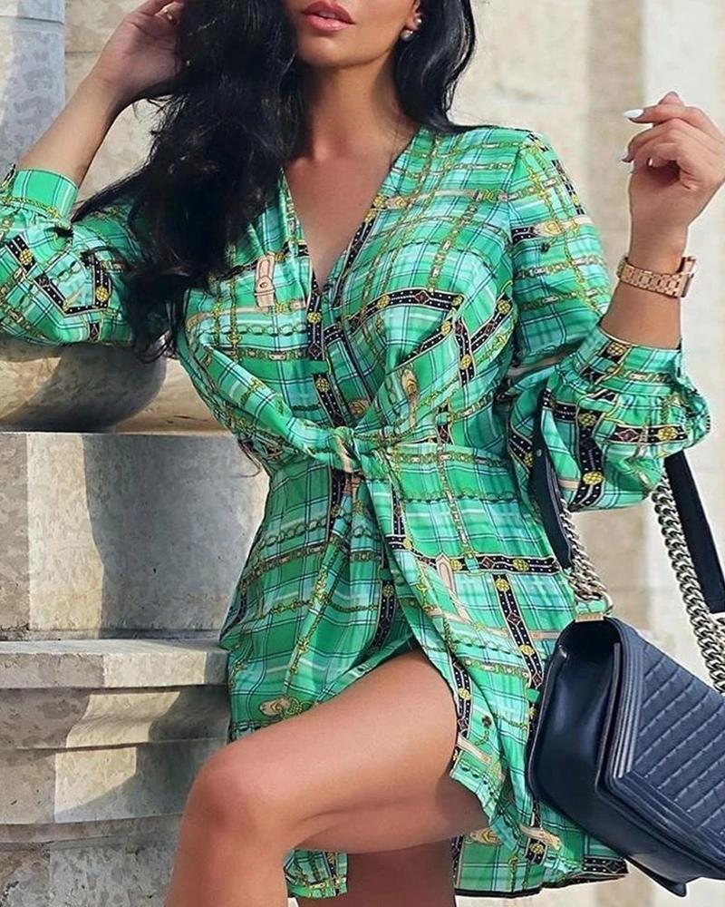 boutiquefeel / Vestido camisero con lazo y estampado de cadena de rejilla