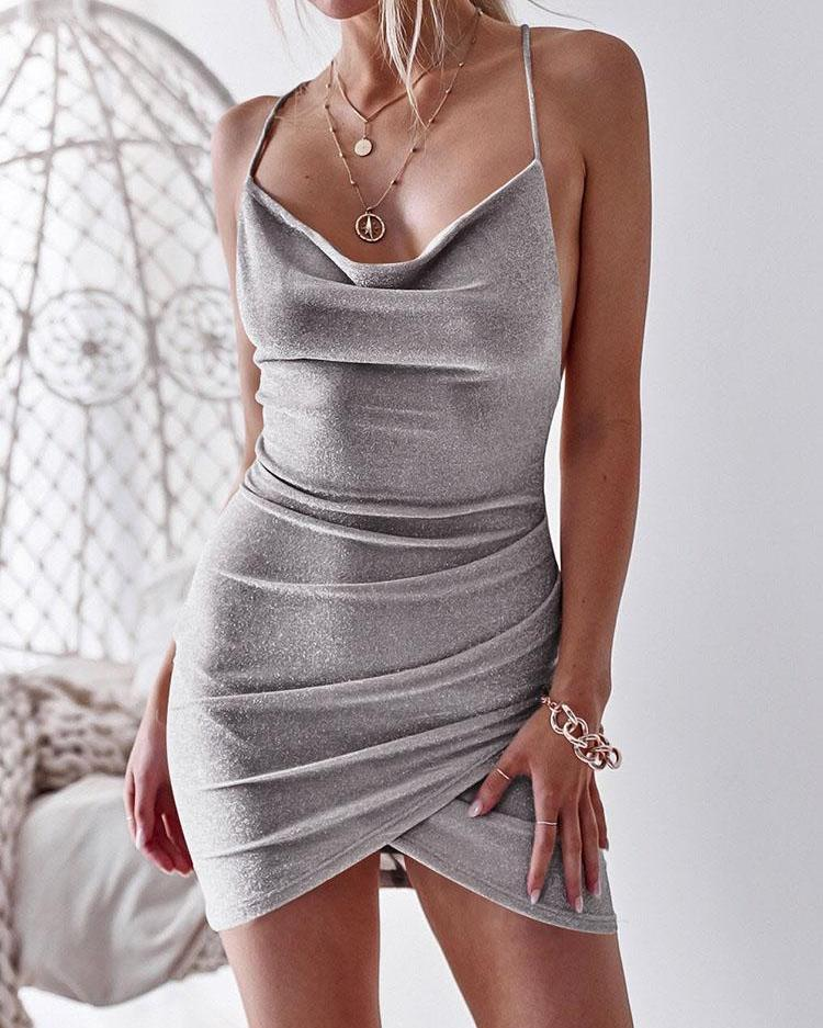 Glittering Drape Neck Scrunched Irregular Party Dress фото