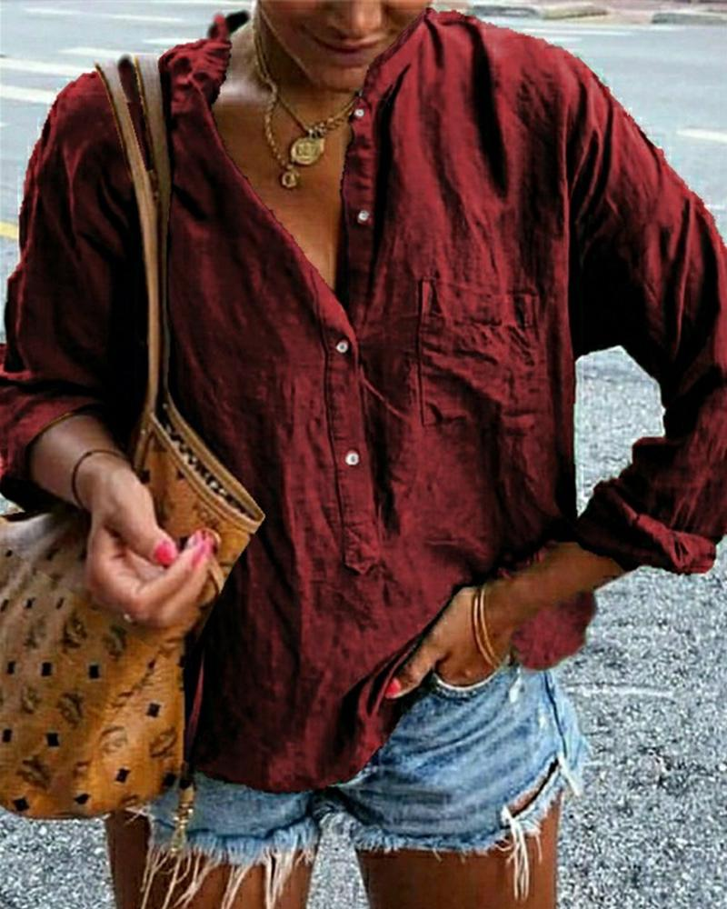 Long Sleeve Half Button Shirt фото