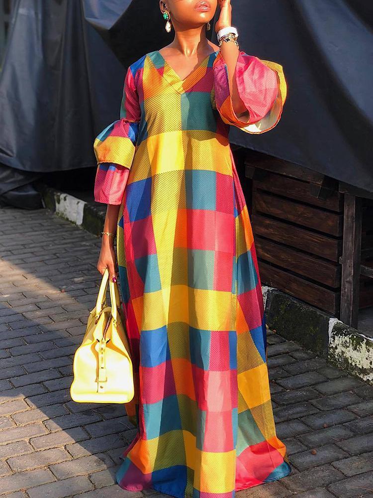 Colorful Grid Lantern Sleeve Maxi Dress