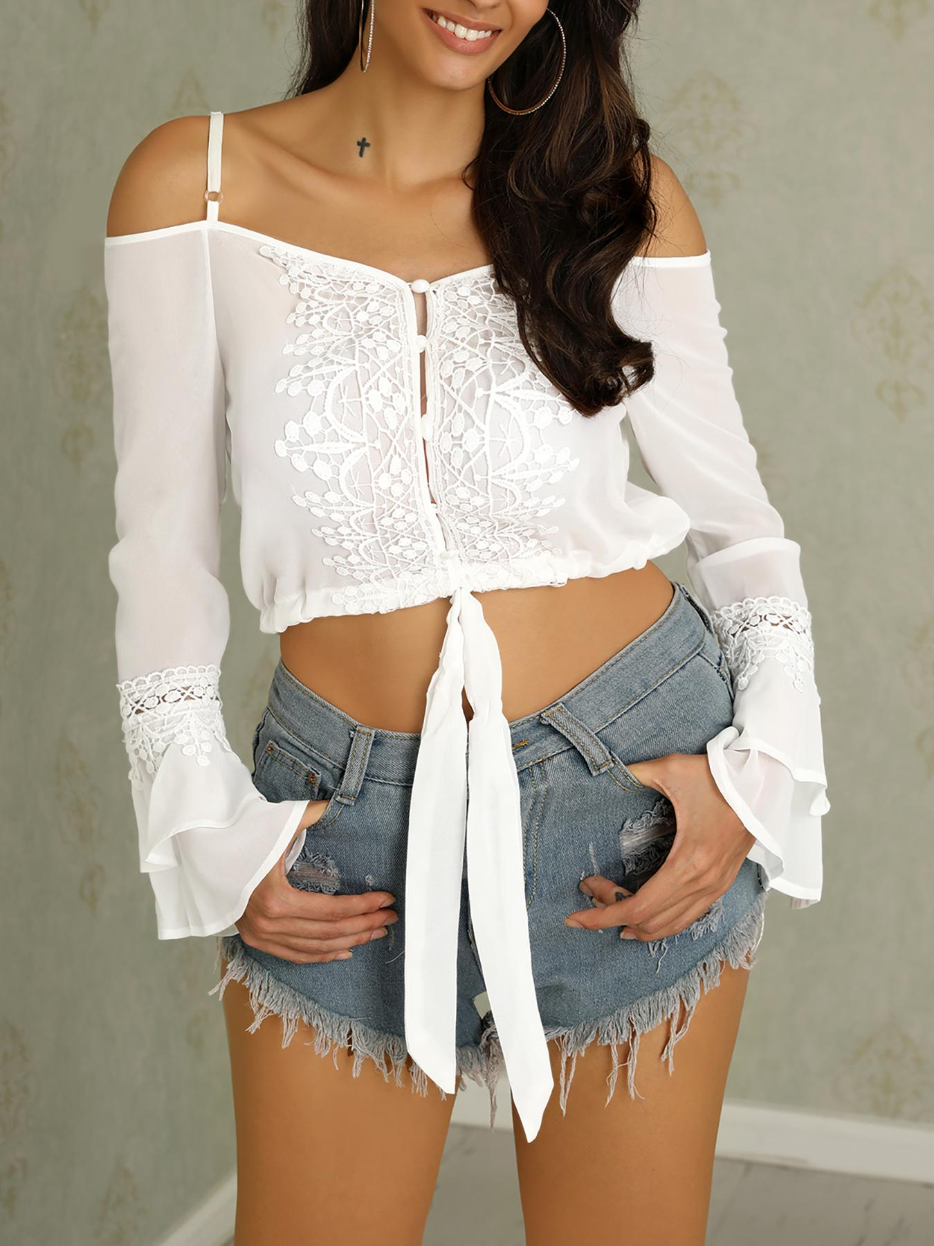 Crochet Lace Cold Shoulder Flared Sleeve Top