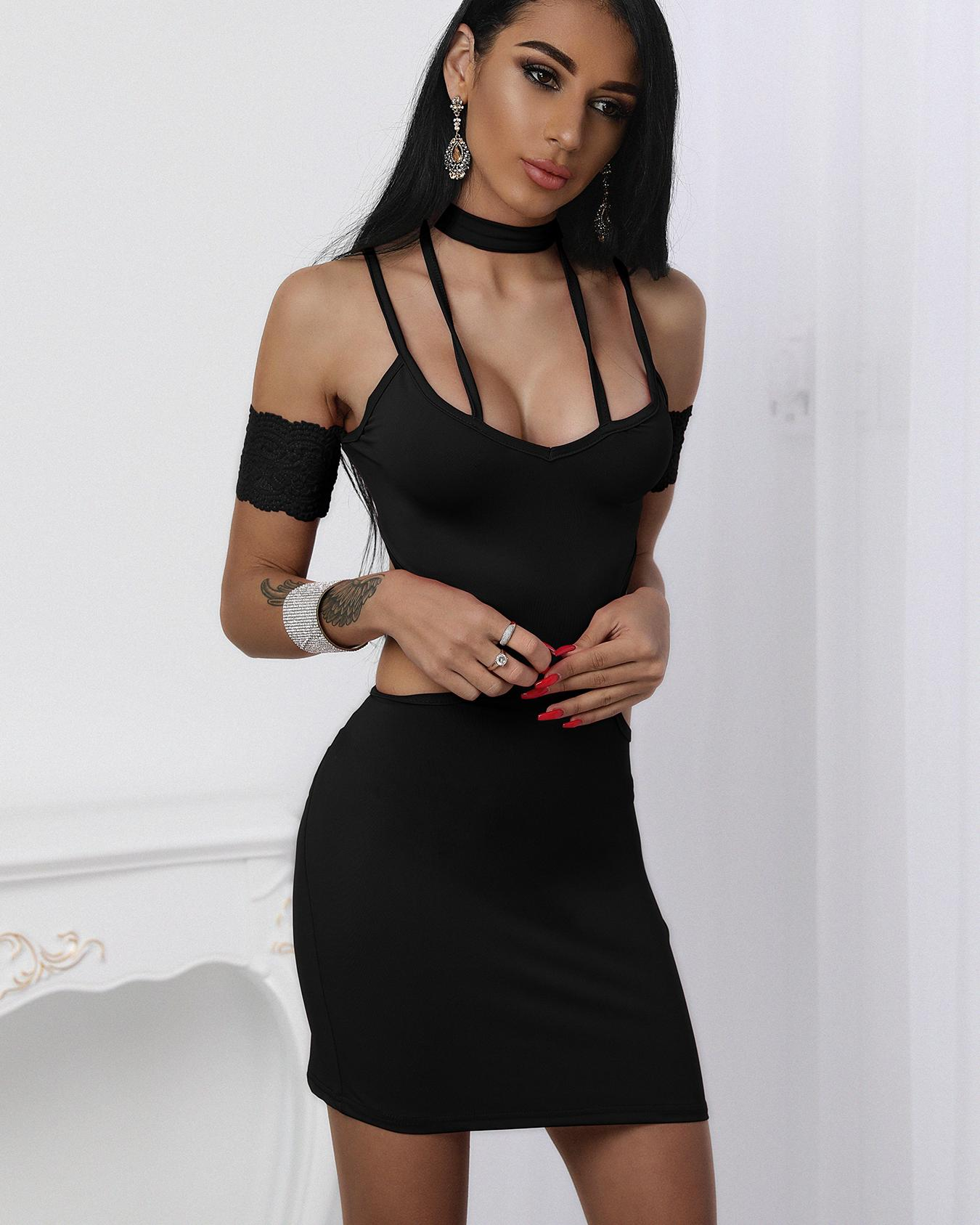 Strappy Cold Shoulder Backless Choker Neck Slip Party Dress фото