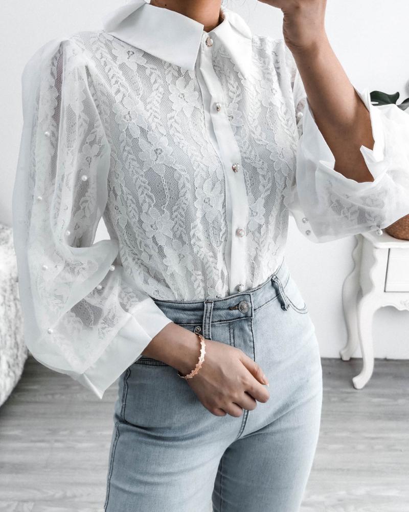 boutiquefeel / Blusa de manga larga con encaje de costura