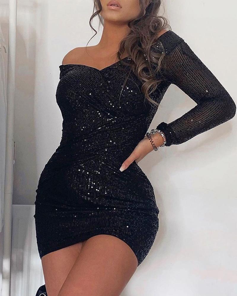 boutiquefeel / Off Shoulder Wrap Sequins Dress