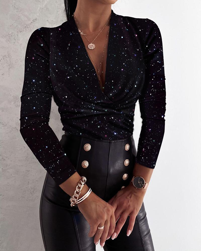 Glitter Plunge Ruched Long Sleeve Top фото