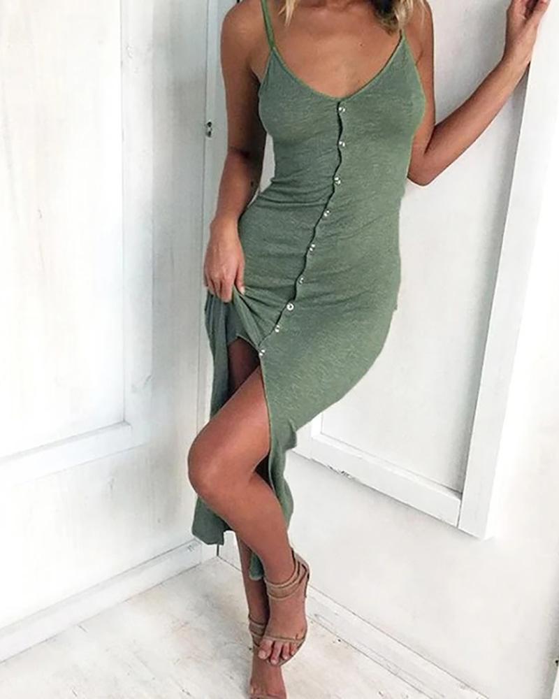ivrose / Vestido de fenda de botão sólido com cinta de espaguete