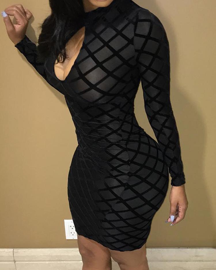 Geo Cutout Front Mesh Sleeve Bodycon Dress, Black