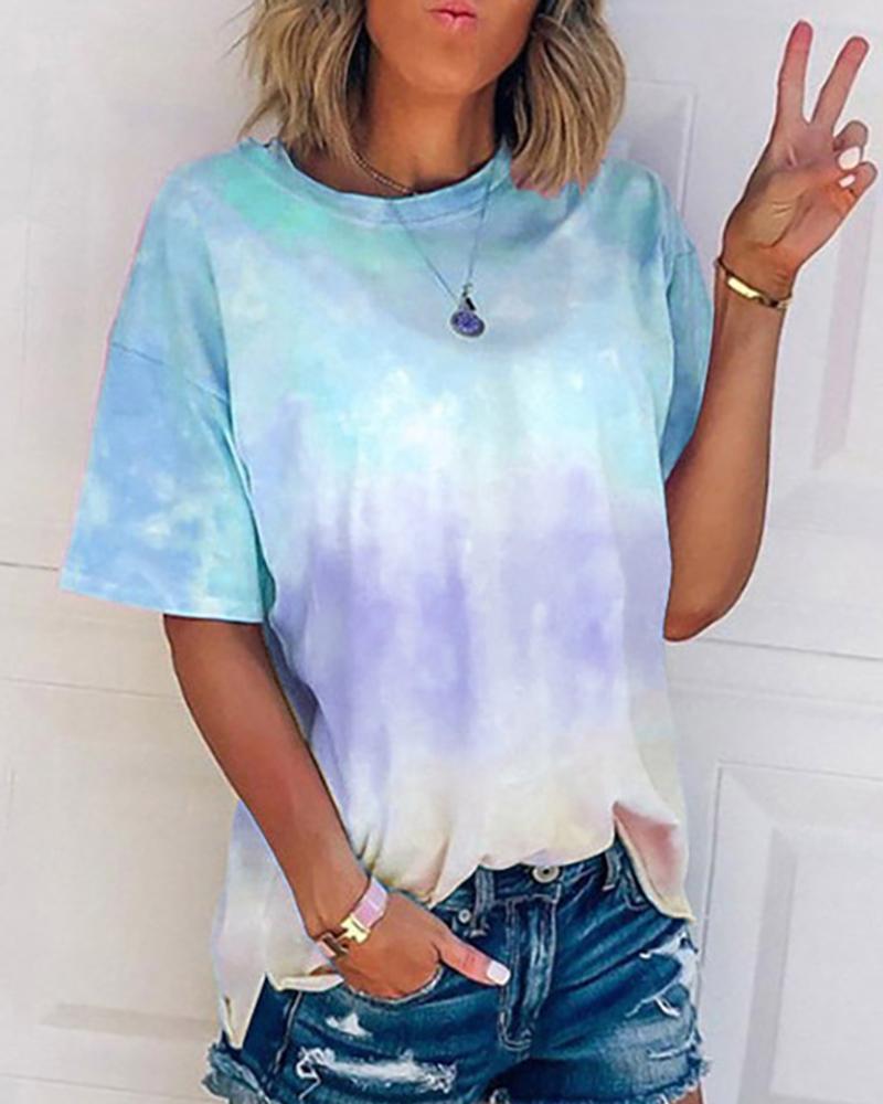 Tie Dye Print Short Sleeve T-shirt фото