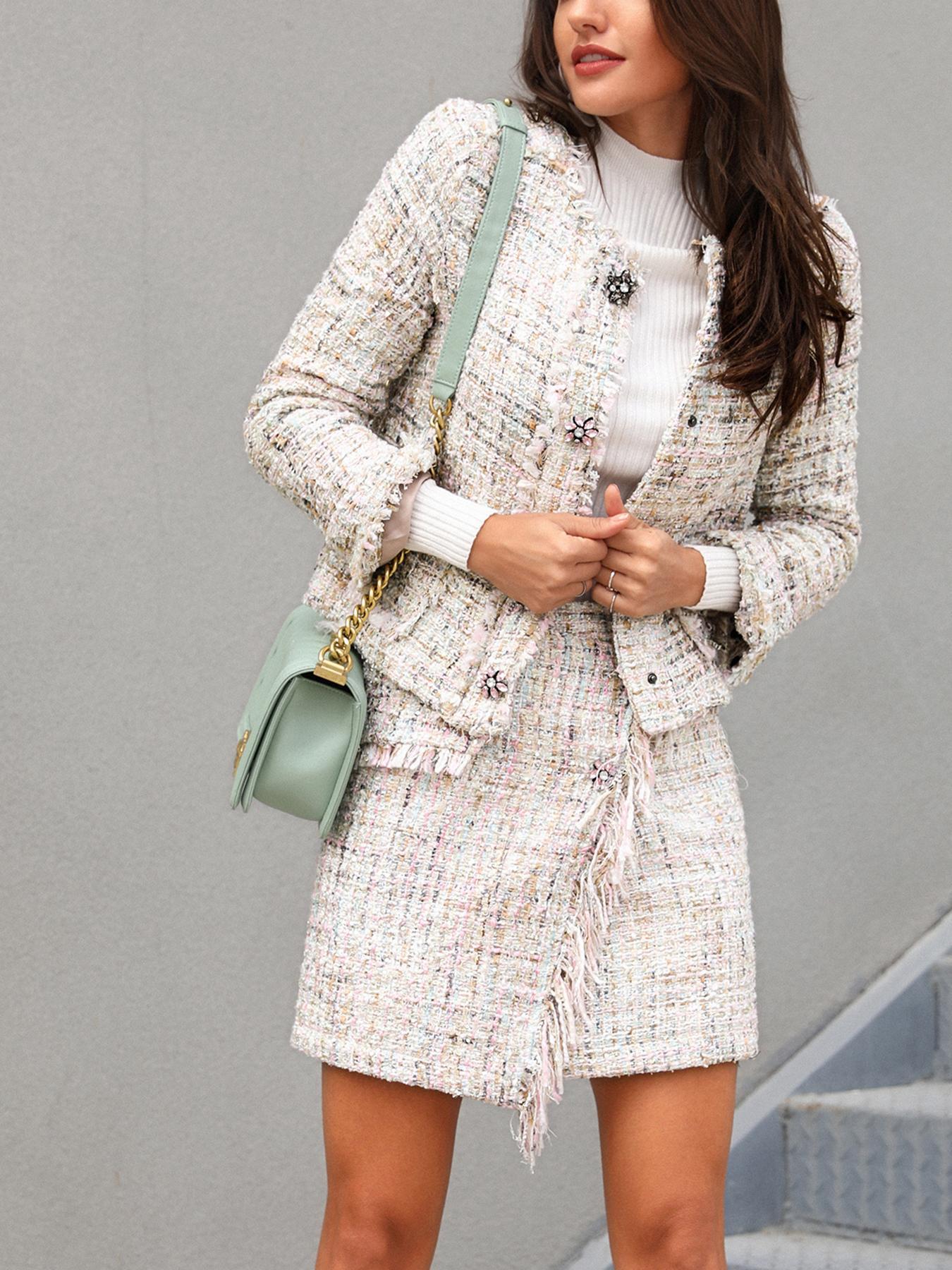 Frayed Hem Tweed Coat & Mini Skirt Set